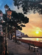 larger image of the work, Amalfi Coast at Sunset