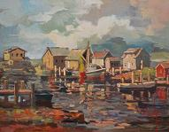 larger image of the work, The Harbor at Dusk